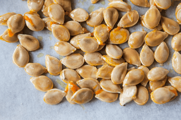 pumpkin seeds scooped and rinsed ready for roasting