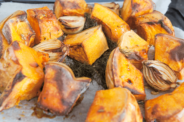 roast pumpkin, fennel and onion for soup